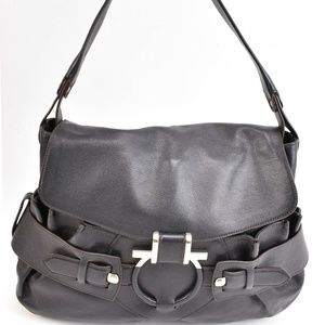 FERRAGAMO Brown Leather Gancini Logo Shoulder Bag